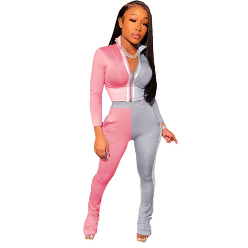 Pink Splicing fashion leisure sports two-piece suit