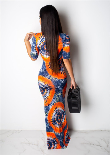 Orange Sexy fashion print V-neck dress