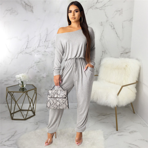 Gray Sexy fashion classic solid color women's Jumpsuit