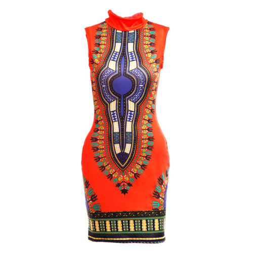 Orange Sexy and tight fashion classic high stretch print slim fit dress