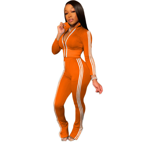 Orange Fashion leisure sports two-piece suit