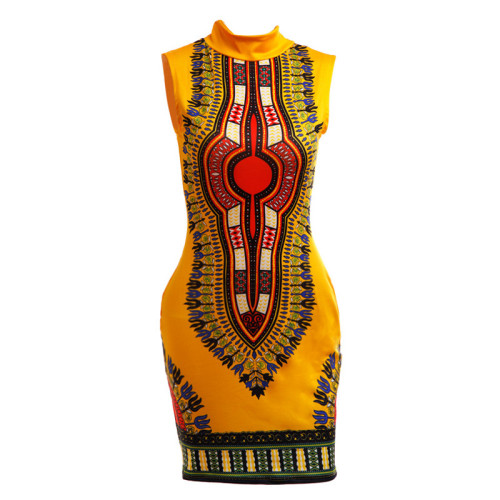 Yellow Sexy and tight fashion classic high stretch print slim fit dress