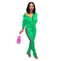 Green Splicing fashion casual two-piece suit