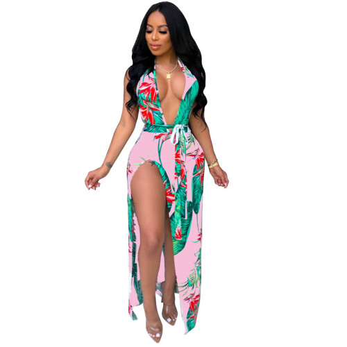 Pink Sexy fashion V-neck dress with neck strap
