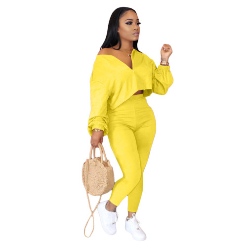 Yellow Two-piece fashion casual set with slanted shoulders