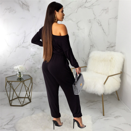 Black Sexy fashion classic solid color women's Jumpsuit