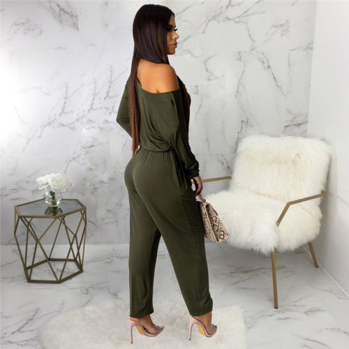 Olive Green Sexy fashion classic solid color women's Jumpsuit