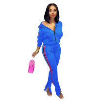 Blue Splicing fashion casual two-piece suit