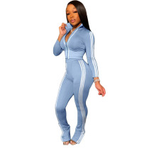 Light Blue Fashion leisure sports two-piece suit