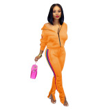 Orange Splicing fashion casual two-piece suit