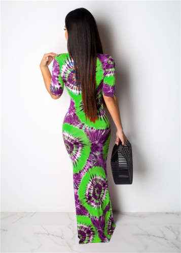 Green Sexy fashion print V-neck dress