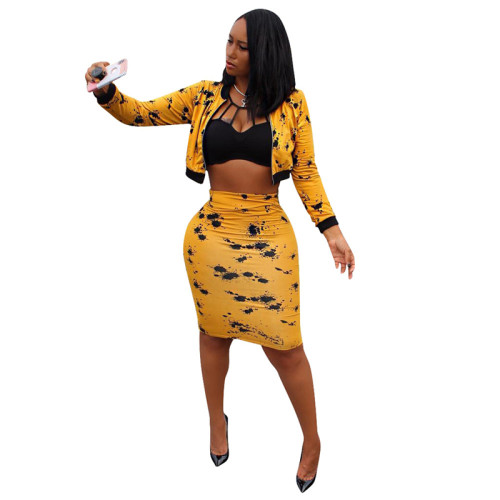 Yellow Sexy long-sleeved splash ink midi skirt suit