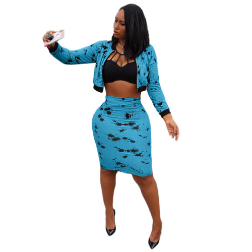 Blue Sexy long-sleeved splash ink midi skirt suit