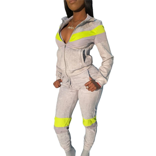 Silver Spliced leisure sports two-piece suit