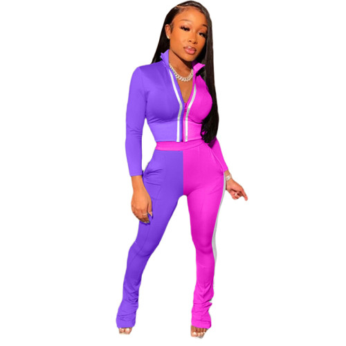 Purple Splicing fashion leisure sports two-piece suit