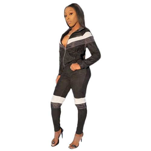 Black Spliced leisure sports two-piece suit