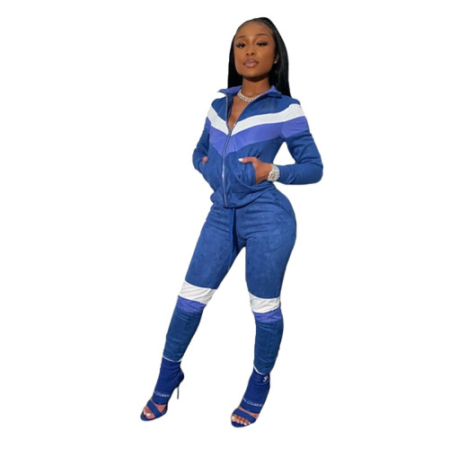 Blue Spliced leisure sports two-piece suit