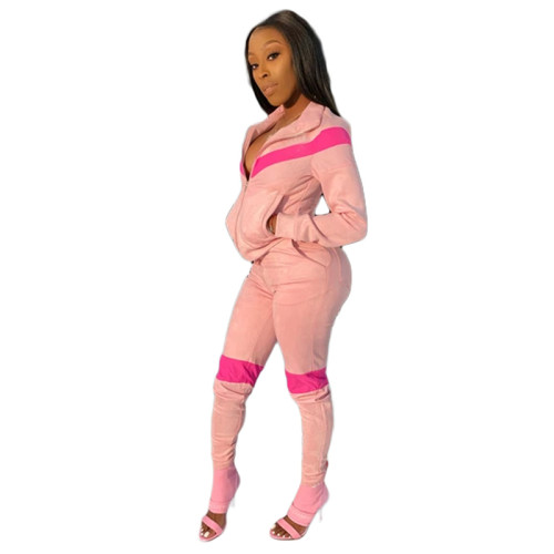 Pink Spliced leisure sports two-piece suit