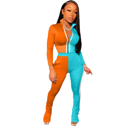 Orange Splicing fashion leisure sports two-piece suit