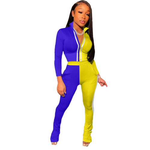 Blue Splicing fashion leisure sports two-piece suit