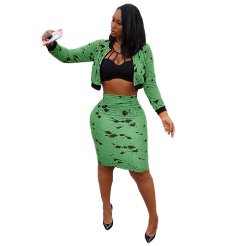 Green Sexy long-sleeved splash ink midi skirt suit