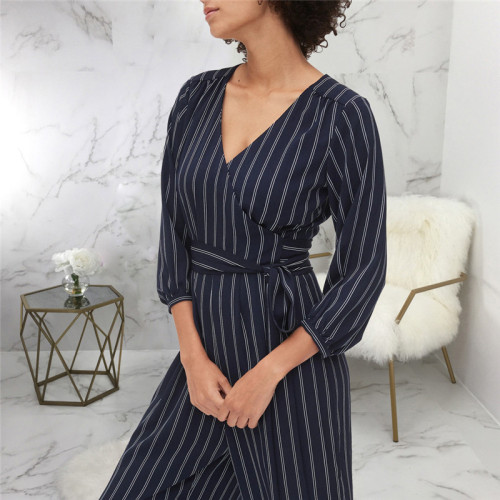 Dark Blue Sexy fashion print long sleeve V-neck Jumpsuit