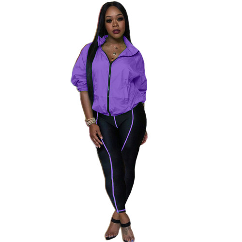 Purple Fashion casual solid color two-piece suit