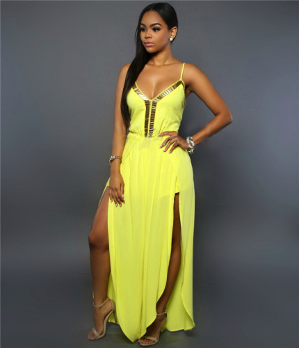 Yellow Fashionable and loose Chiffon suspender with Phnom Penh sexy Jumpsuit