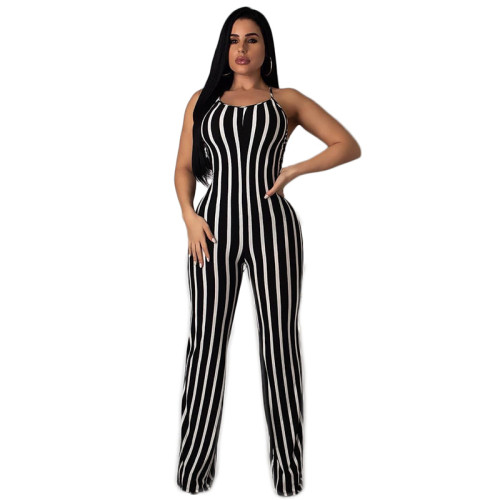 Black Open back sexy jumpsuit