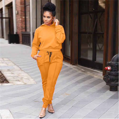Orange Fashion casual sports hooded suit
