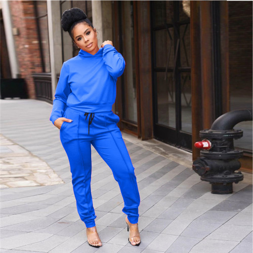 Blue Fashion casual sports hooded suit