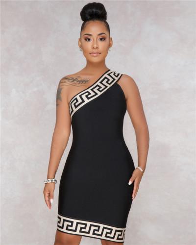 Black Sexy hot selling fashion women's diagonal shoulder Plaid Dress