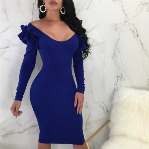 Blue Sexy lotus sleeve dress