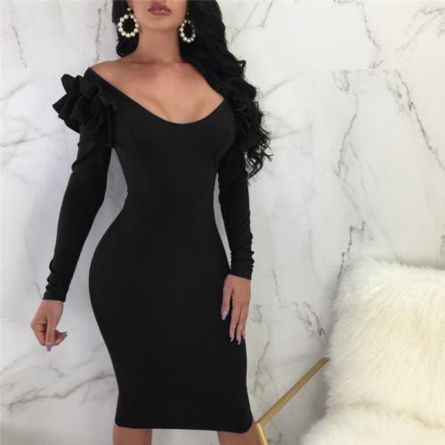 Black Sexy lotus sleeve dress