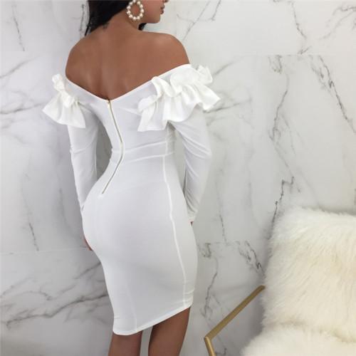 White Sexy lotus sleeve dress