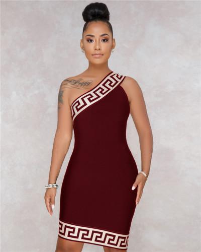 Claret Sexy hot selling fashion women's diagonal shoulder Plaid Dress