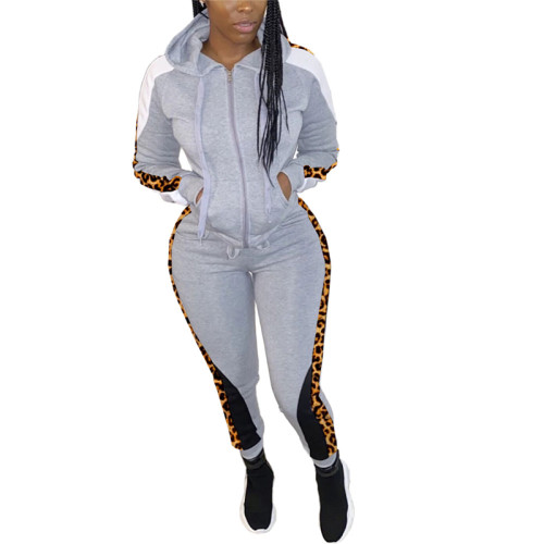 Gray Two-piece zipper jacket