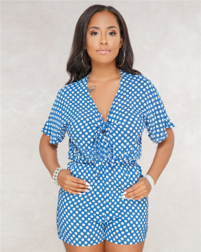 Blue Sexy hot spot print chest strap Jumpsuit