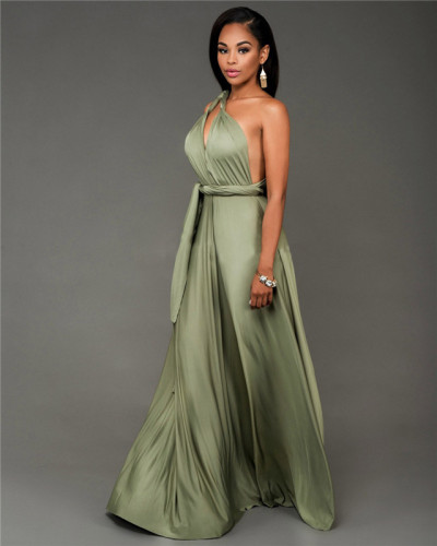 Green Fashionable and loose, various ways to wear sexy dress
