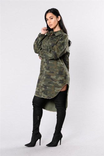 Fashion long sleeve camouflage coat top button fashion