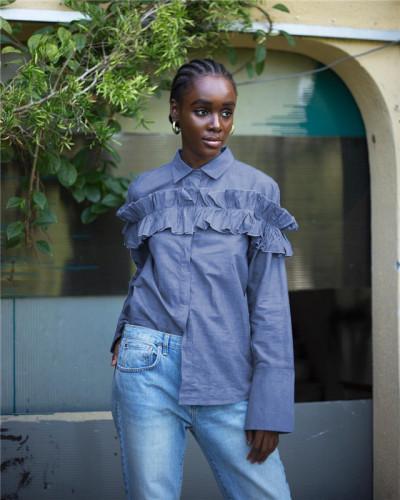 Blue Sexy fashion Ruffle long sleeve denim shirt