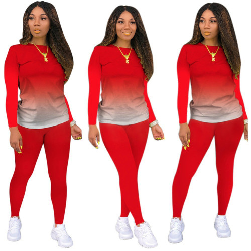 Red Long-sleeved trousers casual sports two-piece suit