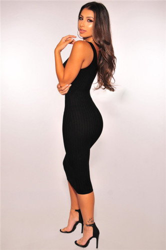 Black Fashion grooved stitched dress