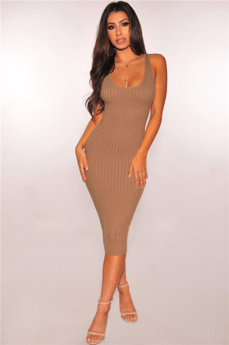 Brown Fashion grooved stitched dress