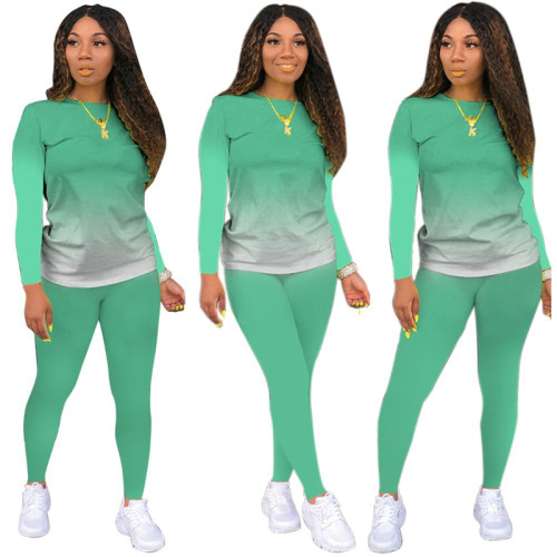 Light Green Long-sleeved trousers casual sports two-piece suit