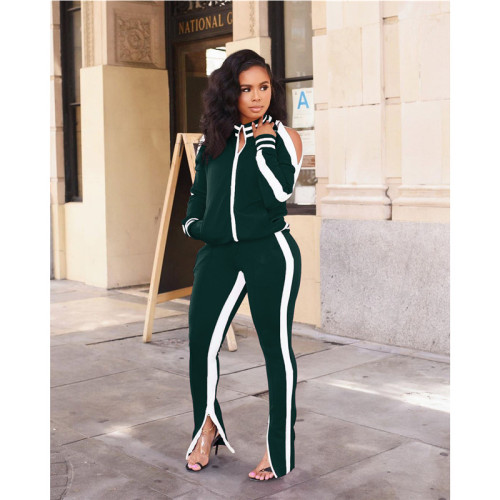 Dark Green Casual and fashionable two piece suit for women