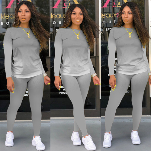 Gray Long-sleeved trousers casual sports two-piece suit