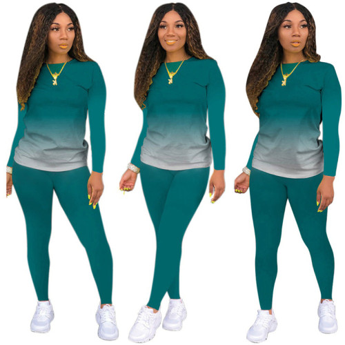 Dark Green Long-sleeved trousers casual sports two-piece suit