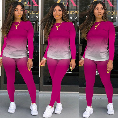 Rose Red Long-sleeved trousers casual sports two-piece suit