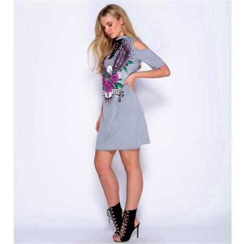 Gray Sexy print bandage fashion dress